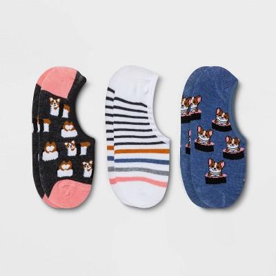 Women's Sushi Corgi 3pk Liner Socks - Xhilaration™ Blue/White/Gray 4-10