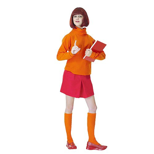 Halloween Women's Scooby-Doo Velma Dinkley Costume, Size: Small, Black/Orange