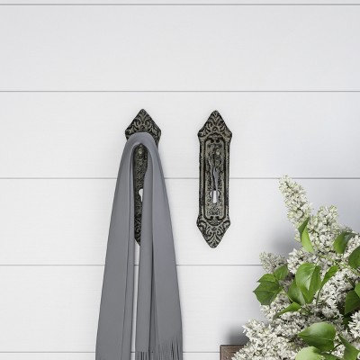2pc Decorative Key Lock Design Wall Hooks White - Lavish Home