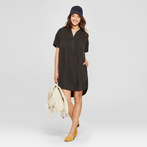 Women's Short Sleeve Shirt Dress - Universal Thread™ Black - image 1 of 3