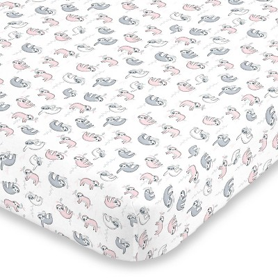 NoJo Super Sloth Fitted Crib Sheet - Soft Pink