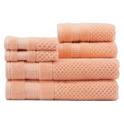 6pc Pebble Sherbert Coral Bath Towels Sets - Caro Home