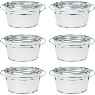 Oval Galvanized Planter Pot (7.5 x 3.5 in, 6 Pack)