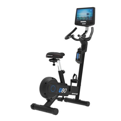 Sportop U80 Indoor Home Workout Bike Stationary Fitness Comfortable Cycler Exercise Machine with 12 Pre Programmed Trainings and Monitor Screen, Black