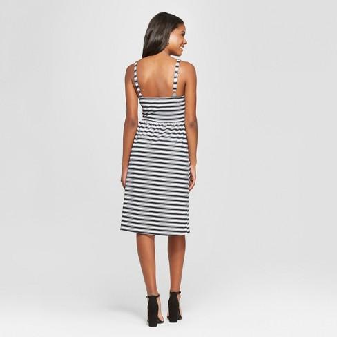 0f61e5c47031 Women s Striped Strappy Button Front Knit Midi Dress - Xhilaration™   Target