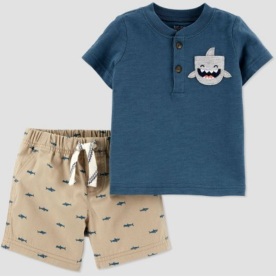 Baby Boys' 2pc Shark Top & Bottom Set - Just One You® made by carter's Blue/Khaki 3M