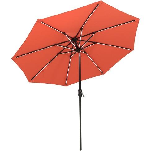 Aluminum Market Tilt Solar Patio Umbrella 9' Fade-Resistant - Orange - Sunnydaze Decor - image 1 of 4