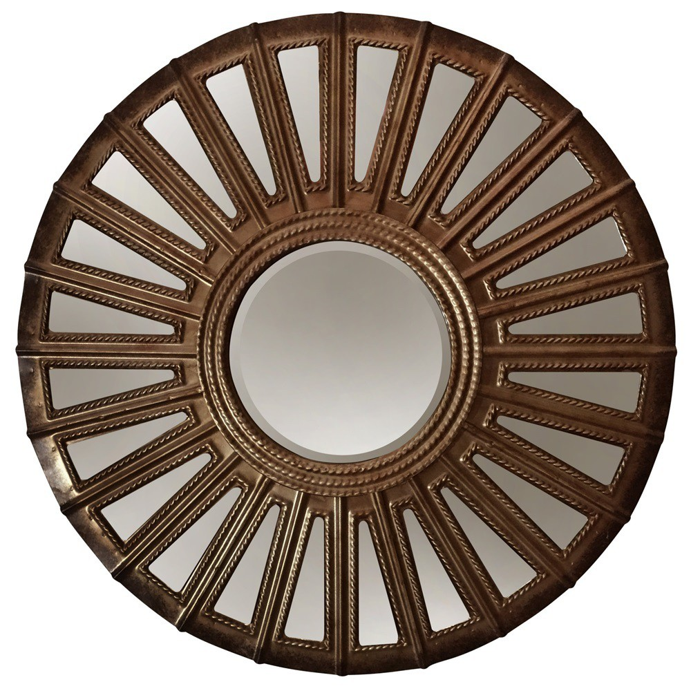 "Image of ""24"""" Round Convex Metal Aged Finish Wall Mirror Golden Bronze - StyleCraft"""
