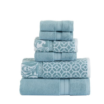 Modern Threads Reversible Yarn Dyed Jacquard Towel Set, Trefoil Filigree.
