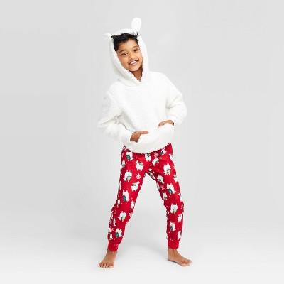 Kids' Holiday Llama Pajama Set - Wondershop™ White 4