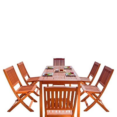 Balthazar 7pc Rectangle Wood Patio Folding Dining Set - Brown - Vifah