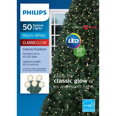 philips 50ct christmas led smooth sphere string lights warm white gw target