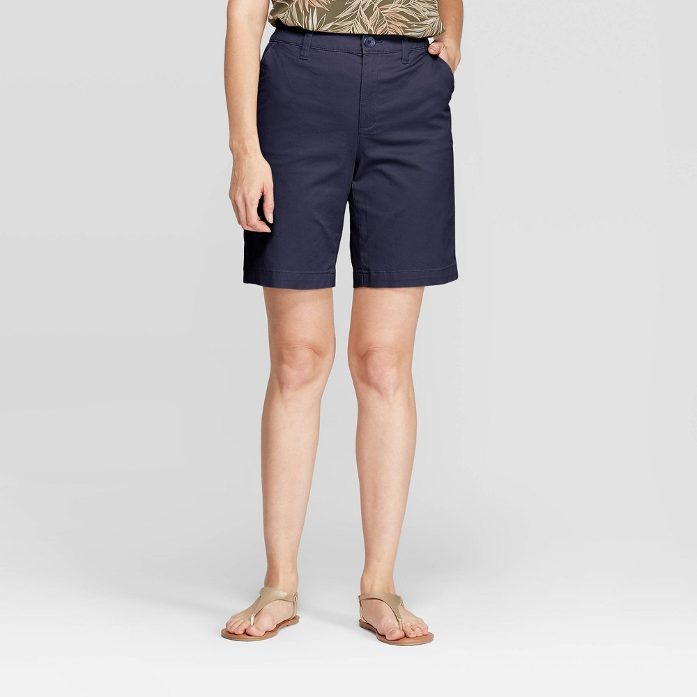 """Women's 9"""" Chino Shorts - A New Day Navy 8, Blue"""