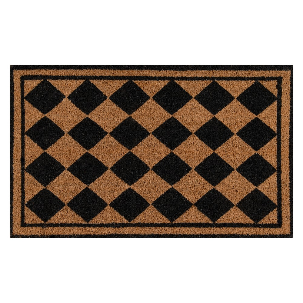 "Image of ""1'6""""X2'6"""" Geometric Woven Door Mat Black - Erin Gates By Momeni"""