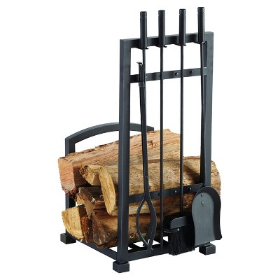 Pleasant Hearth Harper Log holder with Toolset Antique Black