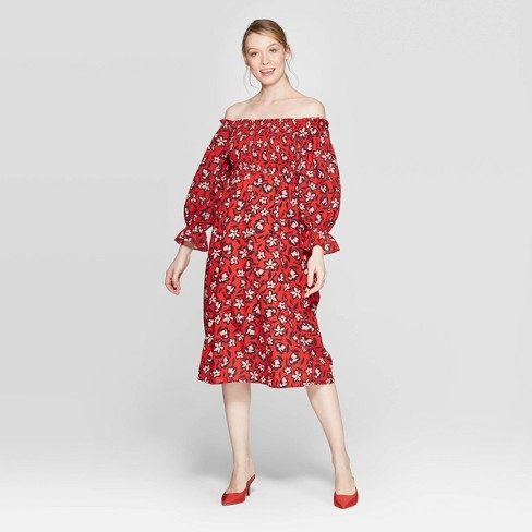 165e903e20652 Women's Floral Print Off The Shoulder Long Sleeve Shirred Midi A Line Dress  - Who What Wear™ : Target