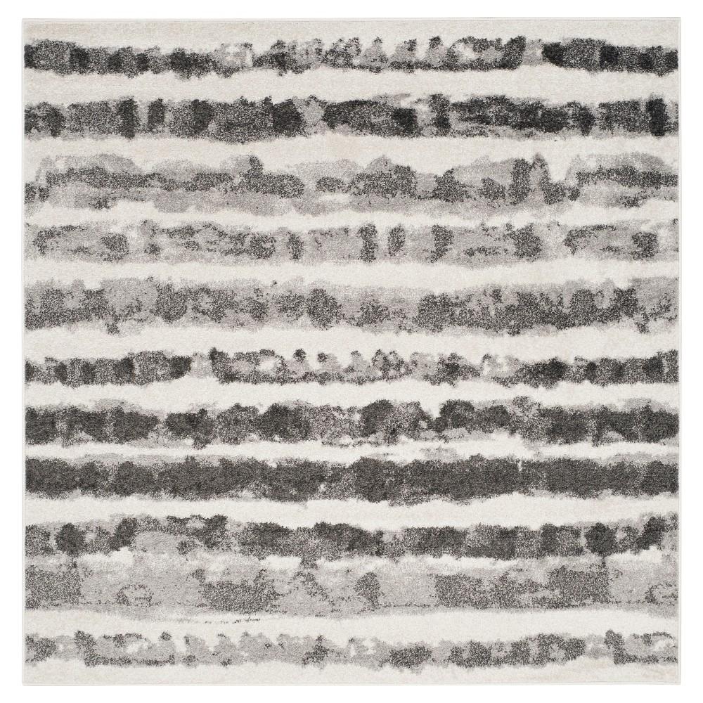 Adirondack Rug - Ivory/Charcoal - (6'x6' Square) - Safavieh, White