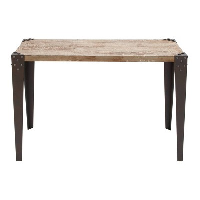 Industrial Iron and Wood Distressed Console Table Brown - Olivia & May