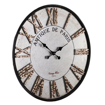 Aiden Lane 27.5 x27.5  Keller Rustic Farmhouse Decorative Wall Clock Gray