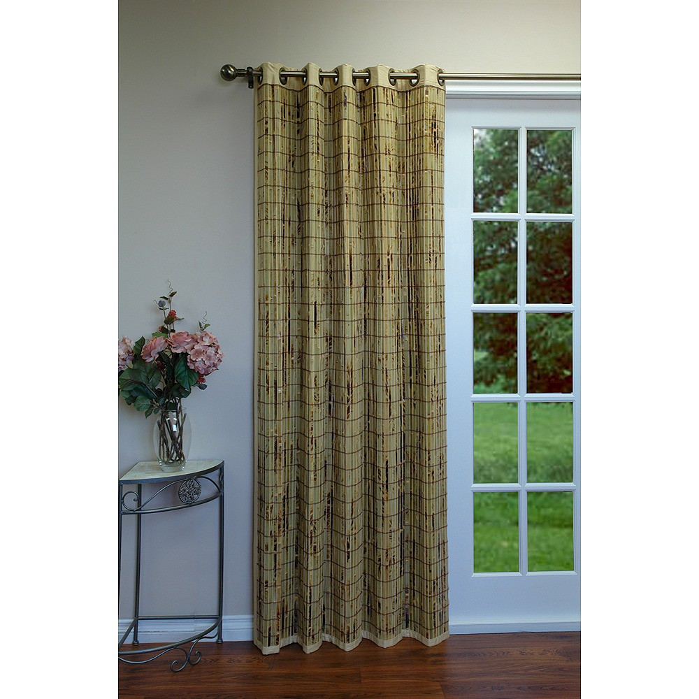 84 34 X54 34 Curtain Panel Bamboo Grommet Top Tan Versailles Home Fashions