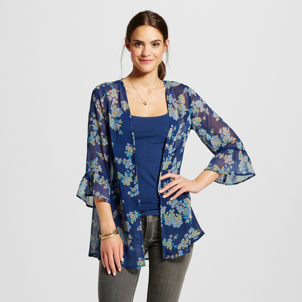 Women's Ruffle Sleeve Kimono Jacket - Xhilaration Navy (Blue) L