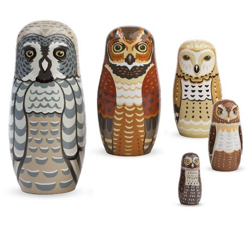 Hand-Painted Owl Nesting Set Of 5 - Hearthsong - image 1 of 2