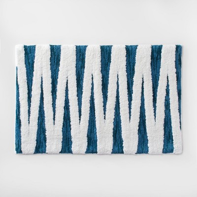 Zig Zag Bath Rug Teal Blue/White - Opalhouse™