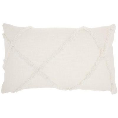 """14""""x24"""" Distressed Diamond Throw Pillow White - Mina Victory"""