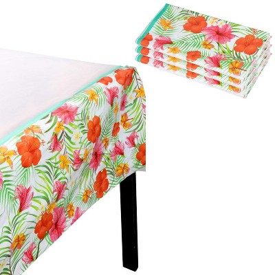Blue Panda 3-Pack Luau Disposable Plastic Table Cover Tablecloth Kids Party Supplies 54 x 108 in