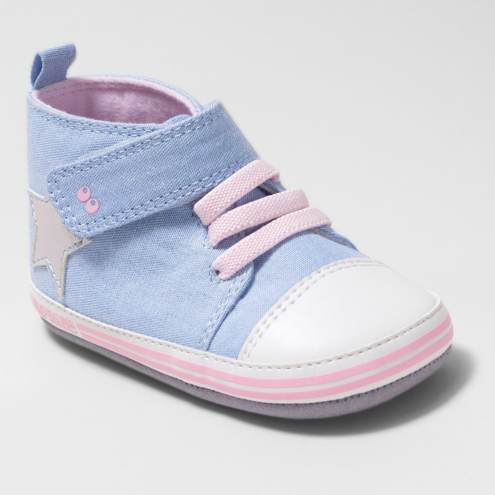 Baby Girls' Surprize by Stride Rite Darla High Top Sneaker Mini Shoes - Chambray Blue 12-18M