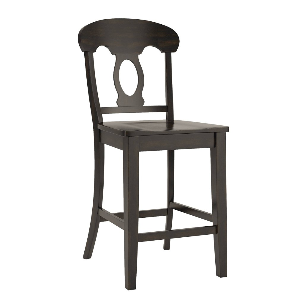 South Hill Napoleon Back 24 in. Counter Chair (Set of 2) - Antique Black - Inspire Q