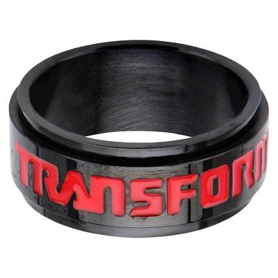 Men's Hasbro® Transformers Stainless Steel Spinner Ring - Black/Red
