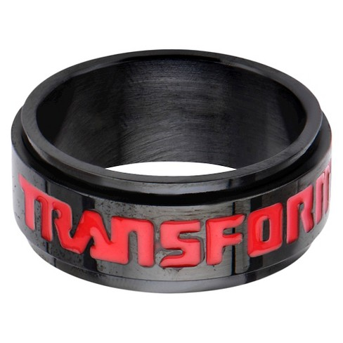 Men's Hasbro® Transformers Stainless Steel Spinner Ring - Black/Red - image 1 of 4