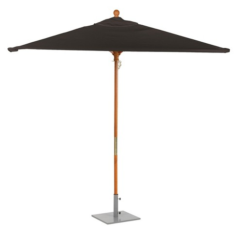 6' Square Sunbrella Market Patio Umbrella - Solid Tropical Hardwood Frame - Black Sunbrella Fabric Shade - Oxford Garden - image 1 of 2