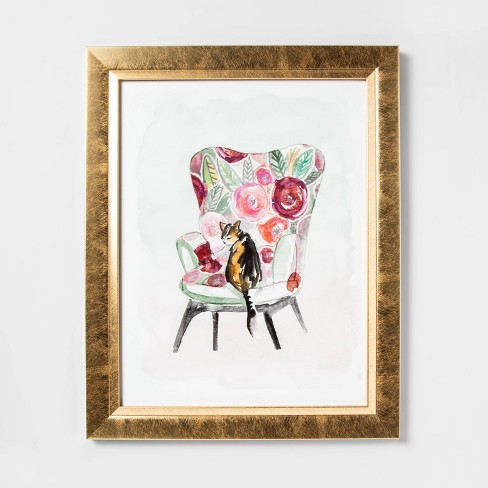 Cat on Chair Framed Canvas - Opalhouse™ - image 1 of 2