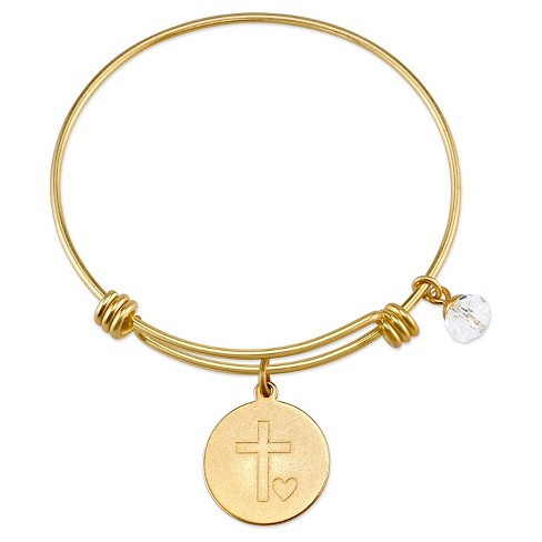 """Women's Stainless Steel Faith hope love cross Expandable Bracelet - gold (8"""") - image 1 of 2"""