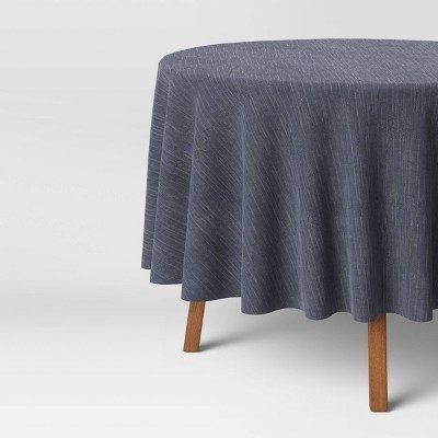 "70"" Cotton Chambray Round Tablecloth Blue - Threshold™"