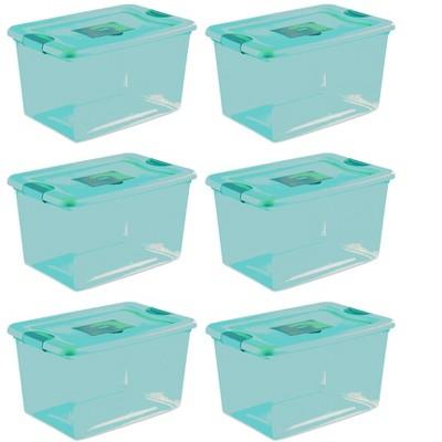 Sterilite 64 Quart Fresh Scent Stackable Plastic Storage Box Container (6 Pack)