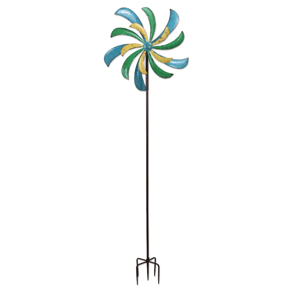 72 Outdoor Metal Alize Spinner Stake - Multi Color - Sunset Vista Designs, Multi-Colored