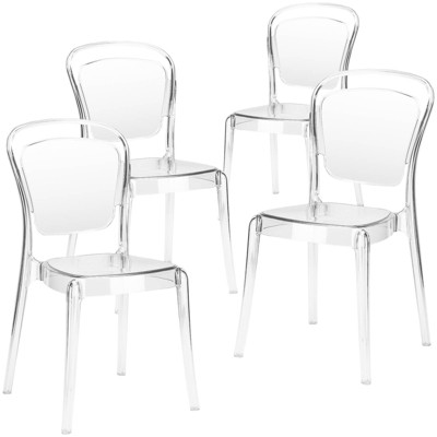 Set of 4 Genevieve Dining Side Chair Clear - Poly & Bark