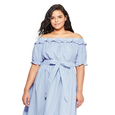 aa2e067b34a18 Women s Plus Size Striped Off the Shoulder Short Sleeve Bardot Top -  Navy White - vineyard vines® for Target