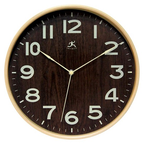 The Arbor II Round Wall Clock Brass/Cherry - Infinity Instruments® - image 1 of 1