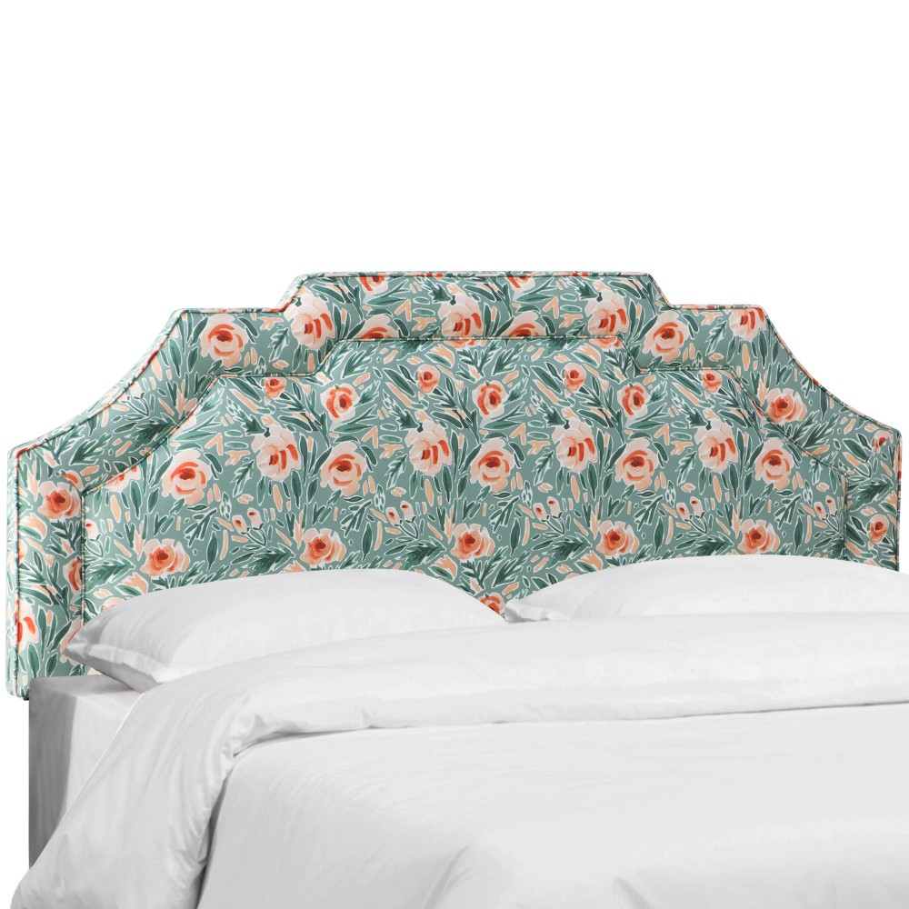 Eve Notched Border Headboard Full Lucha Rose Conifer Green - Cloth & Co.