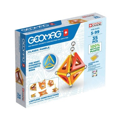 Geomag Magnetic Panels Building Set Recycled Multicolor - 35ct