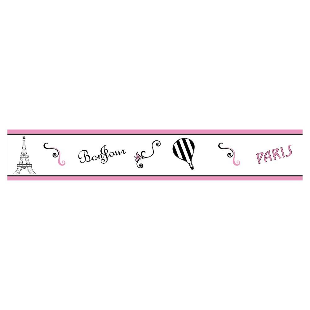 Image of Pink & Black Paris Wall Border - Sweet Jojo Designs