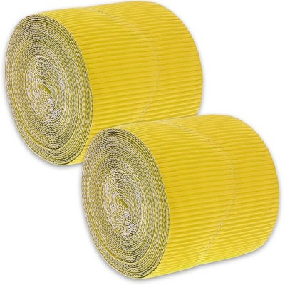 2-Rolls Yellow Bulletin Board Scalloped Border Decoration for Classroom, 2 inches X 50 Feet