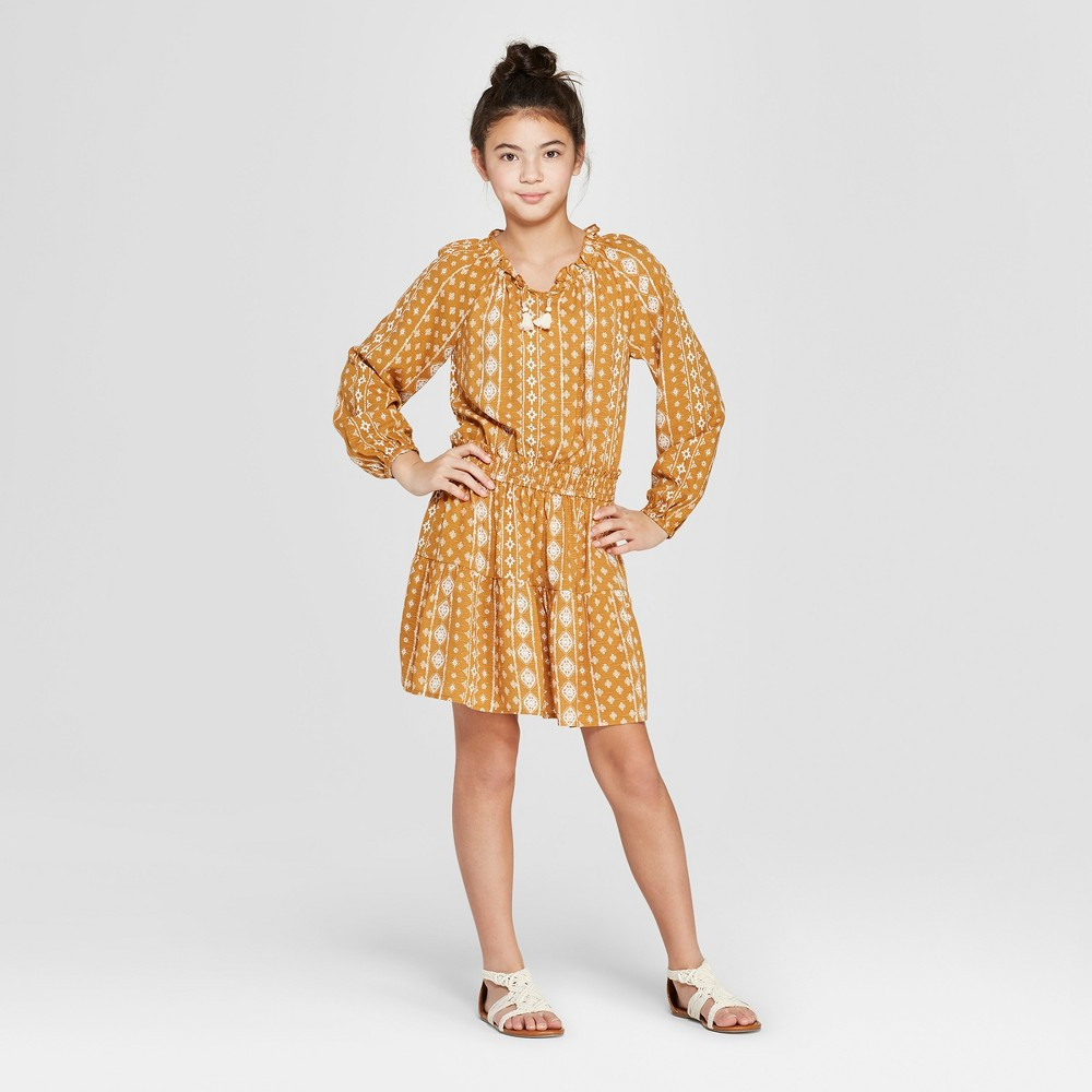 Girls' Print Dress - art class Gold L, Yellow