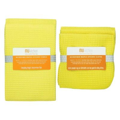 Ultra Absorbent Microfiber Waffle Kitchen Towel And Dish Cloth Set Lemon - Mu Kitchen