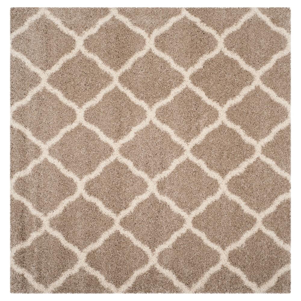 Beige/Ivory Geometric Shag/Flokati Loomed Square Area Rug - (7'X7') - Safavieh
