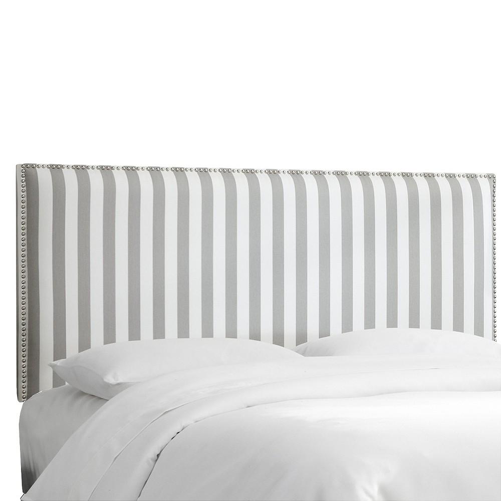 Full Arcadia Nailbutton Patterned Headboard Canopy Stripe Storm/twill - Skyline Furniture